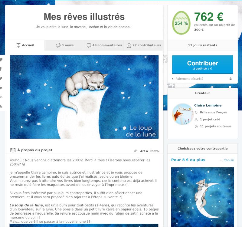 """capture d'écran de la campagne """"Mes rêves illustrés"""""""