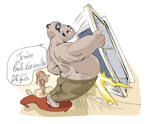 karam azoff s en bat les couilles avec une porte-fenêtre