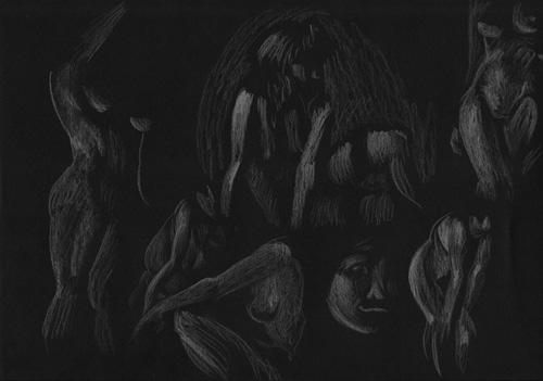 dessin blanc sur noir