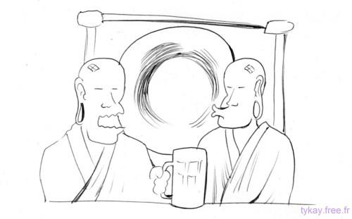 moines tibetains qui prennent une biere et rotent