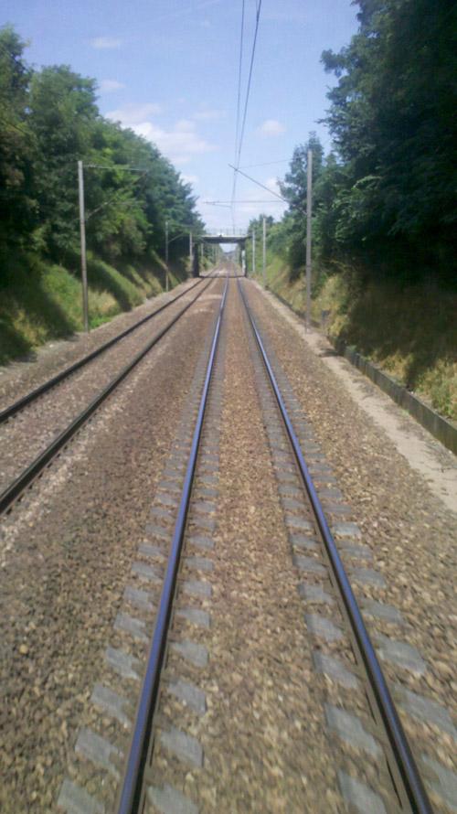 vue du train sur les rails